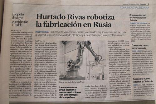 Hurtado Rivas robotiza la fabricación en Rusia