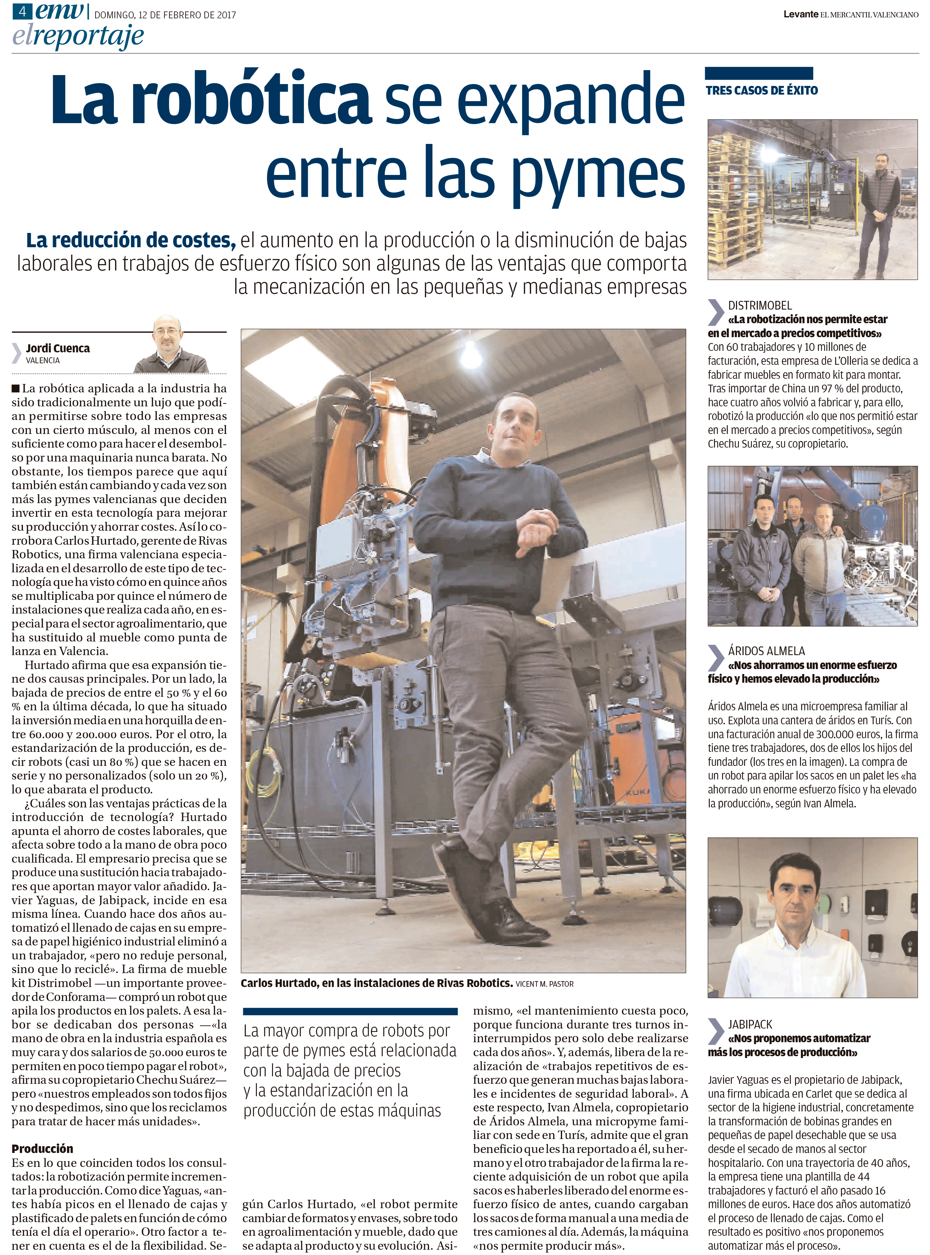 La rob tica se expande entre las pymes reportaje a rivas robotics de levante el mecantil valenciano - Periodico levante el mercantil valenciano ...
