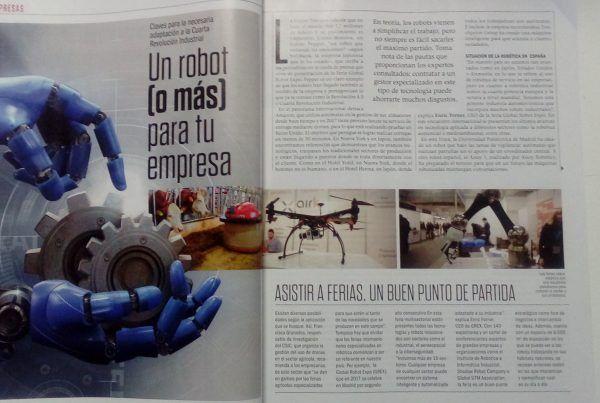 Portada y primera página del reportaje de Robótica en Emprendedores