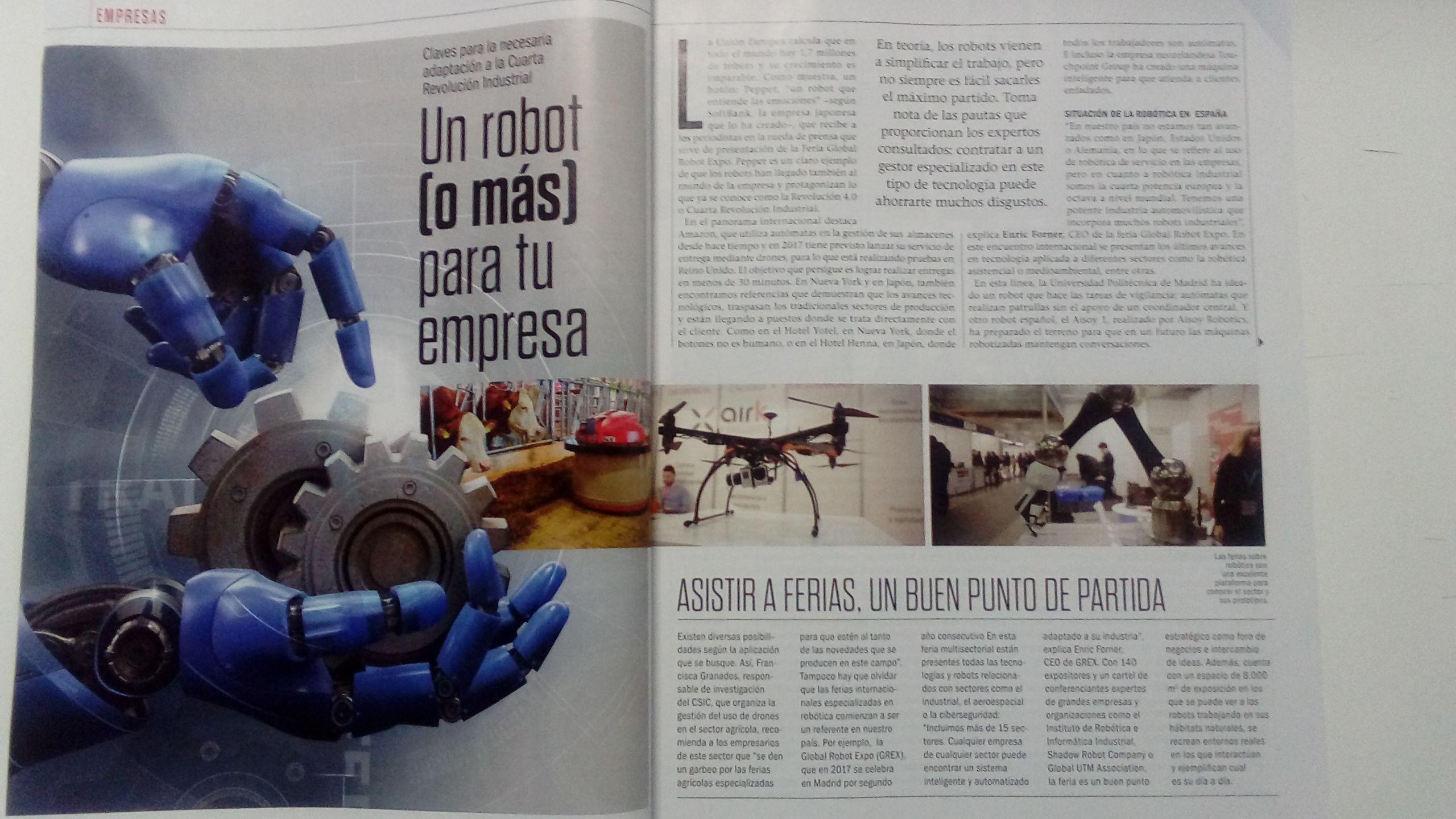 Reportaje en la revista Emprendedores: Claves para gestionar los recursos de robótica en tu empresa