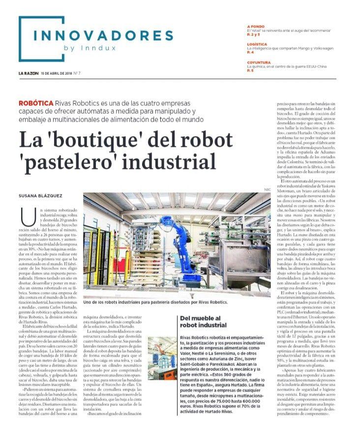 Rivas Robotics: Un robot en el suplemento de Innovadores del diario La Razón